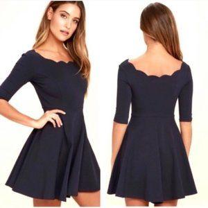Lulu's Tip the Scallops Black Skater Dress